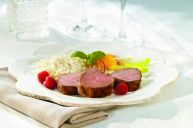 Quebec Veal tenderloin with rasberry and basilic marinade