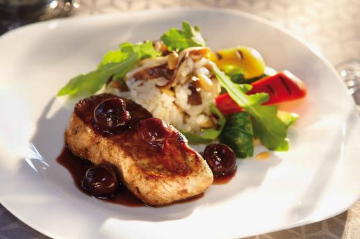 Veal Ny Style Striploin Steak With Cherries And Sherry